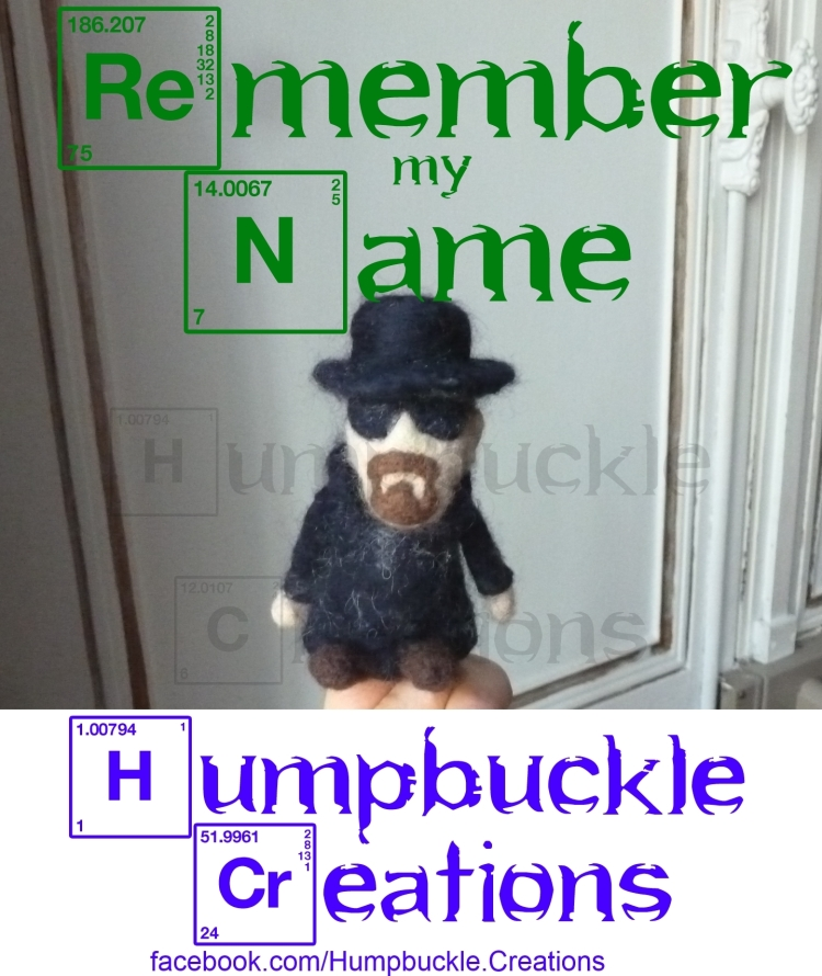 Humpbuckle Creations Needle-felted Heisenberg  finger puppet