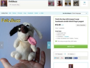 patch dog finger puppet